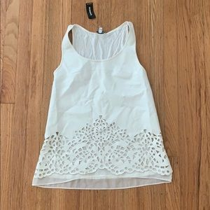 Express faux leather laser cut tank top